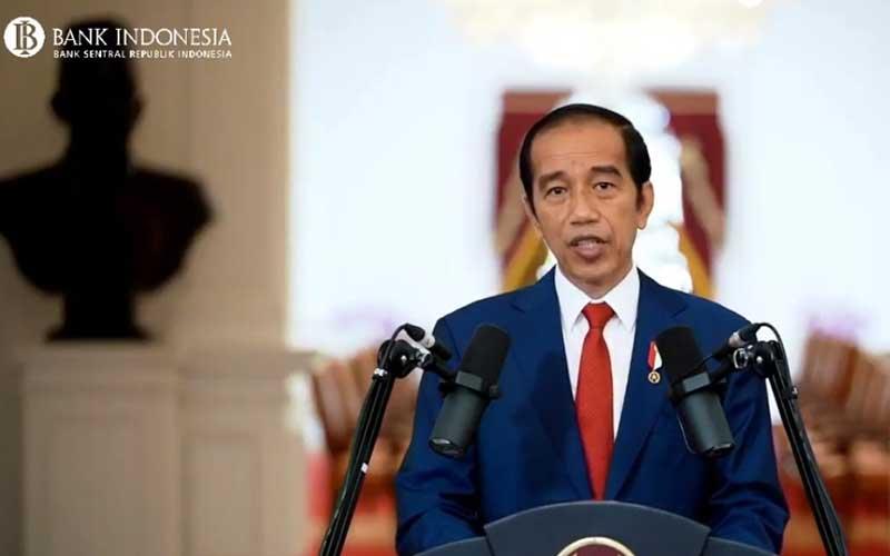 Presiden Joko Widodo menyampaikan sambutan saat acara Pertemuan Tahunan Bank Indonesia 2020 di Jakarta, Kamis (3/12 - 2020). Dalam acara yang digelar secara virtual tersebut mengangkat tema Bersinergi Membangun Optimisme Pemulihan Ekonomi. Bisnis