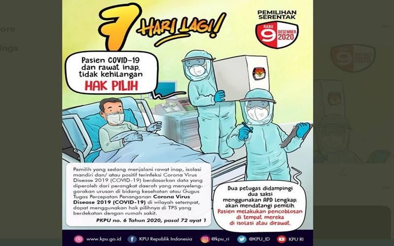 KPU merilis poster yang isinya menggambarkan pasien positif Covid-19 tetap bisa memilih dalam Pilkada 2020. - Twitetr @kamilmoon