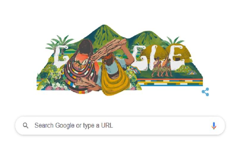 Noken Papua di Laman Google Doodle, Jumat (4/12/2020).  -  Google.co.id