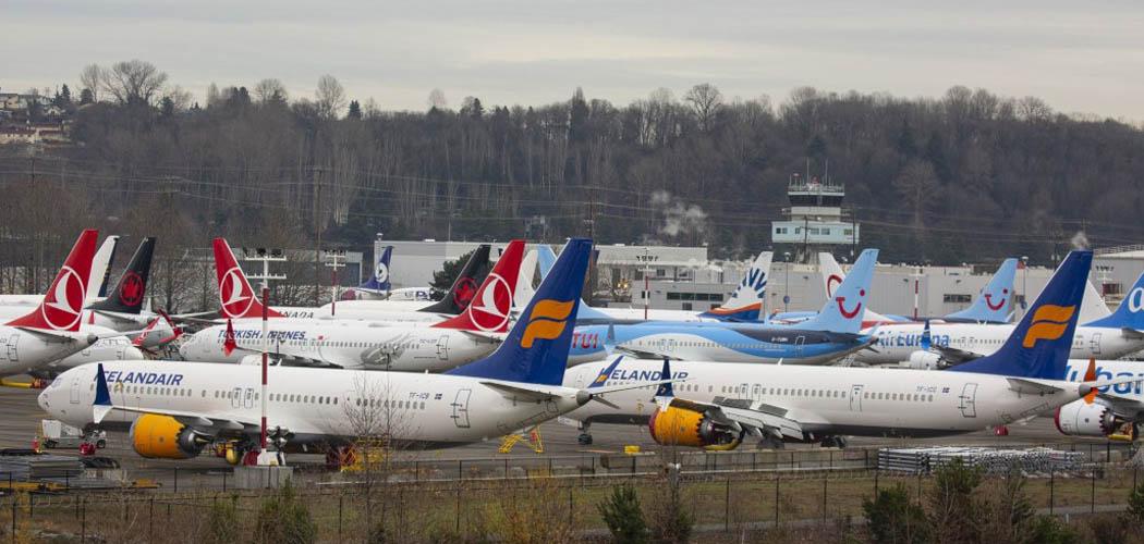 Pesawat-pesawat model 737 Max buatan Boeing diparkir di dekat lapangan udara milik Boeing di Seattle, Washington, AS, Selasa (17/12/2019). - Bloomberg/David Ryder