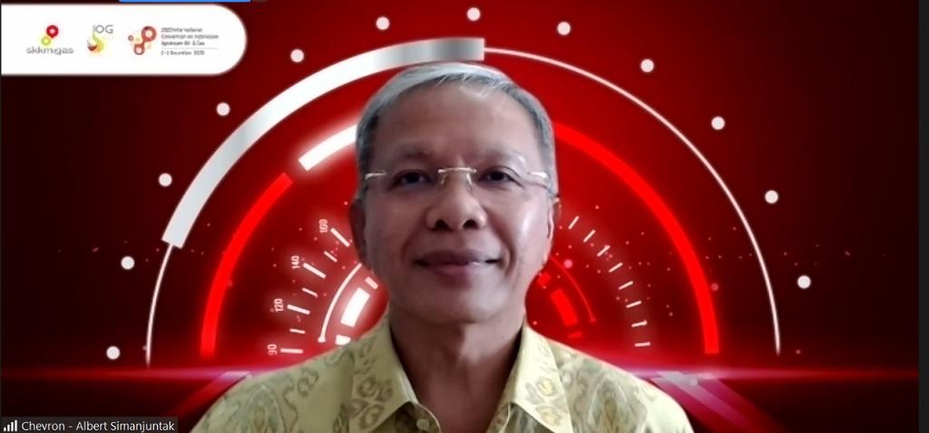 Foto: Presiden Direktur PT CPI Albert Simanjuntak ketika mengikuti acara penyerahan penghargaan International Convention on Indonesian Upstream Oil and Gas 2020 yang dilaksanakan secara virtual pada Jumat (4 - 12).