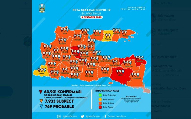 Semakin sedikit daerah di Jawa Timur berisiko penyebaran Covid/19 rendah.