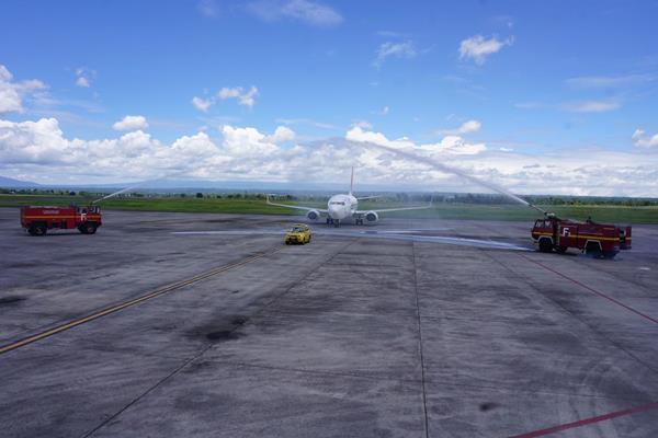 Pesawat Nam Air rute baru Bima-Lombok yang baru mendarat di Lombok International Airport, Rabu (7/2/2018). -  Humas Lombok International Airport