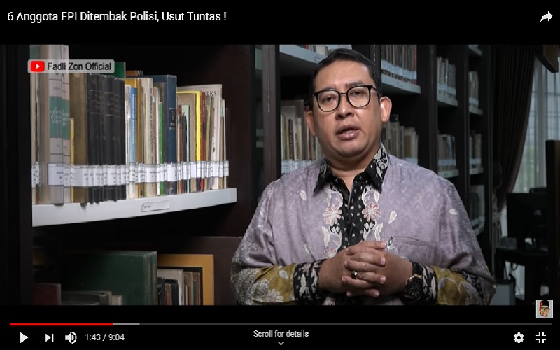Anggota DPR RI dari Fraksi Gerindra Fadli Zon menanggapi peristiwa penembakan Laskar FPI oleh polisi.  -  Tangkapan layar Youtube Fadli Zon Official