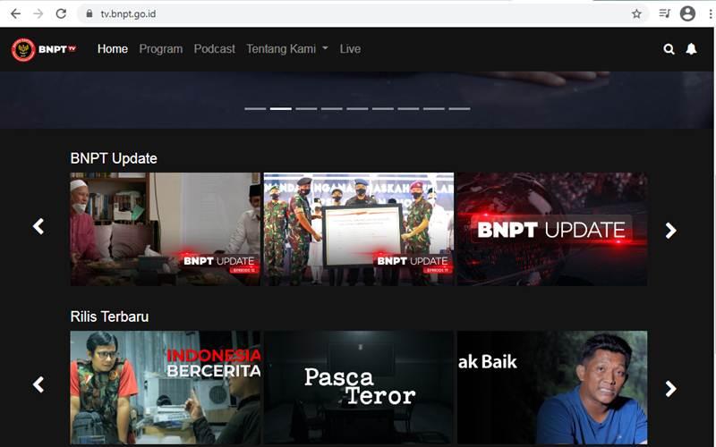 Tangkapan layar BNPT TV - tv.bnpt.go.id