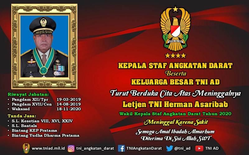 Kabar duka meninggalnya Wakasad Letjen TNI Herman Asaribab - Istimewa/Dispen TNI AD