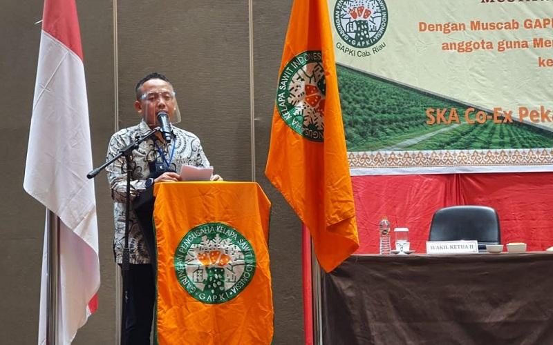 CEO PTPN V Jatmiko K. Santosa memberikan sambutan setelah terpilih secara aklamasi sebagai ketua Gapki Cabang Riau Periode 2021-2025 dalam Musyawarah Cabang Gapki Riau ke VI di Pekanbaru, Rabu (16/12 - 2020).