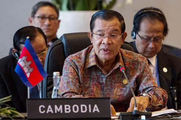 Perdana Menteri Kamboja Hun Sen mengikuti pertemuan Asean Leaders Gathering di Hotel Sofitel, Nusa Dua, Bali, Kamis (11/10/2018). - ANTARA/Afriadi Hikmal