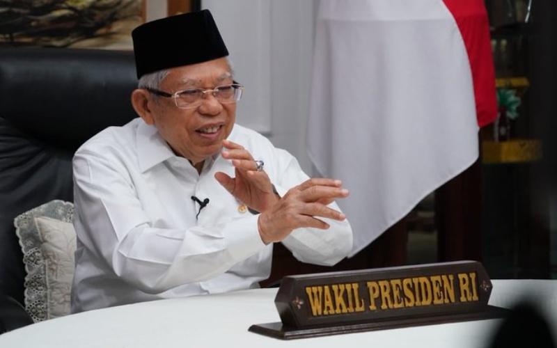 Wakil Presiden Ma'ruf Amin memberikan keterangan secara virtual - Twitter/@Kiyai_Ma'rufAmin