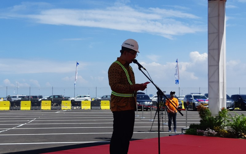 Gubernur Jawa Barat Ridwan Kami dalam peresmian Pelabuhan Patimban, Subang, Jawa Barat. - Bisnis / Anitana W.P
