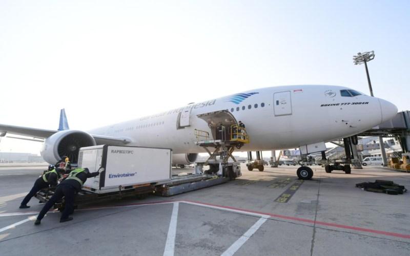 Ilustrasi - Pesawat Garuda Indonesia membawa 1,2 Juta vaksin Covid-19. Biro Pers Sekretariat Presiden - Lukas.