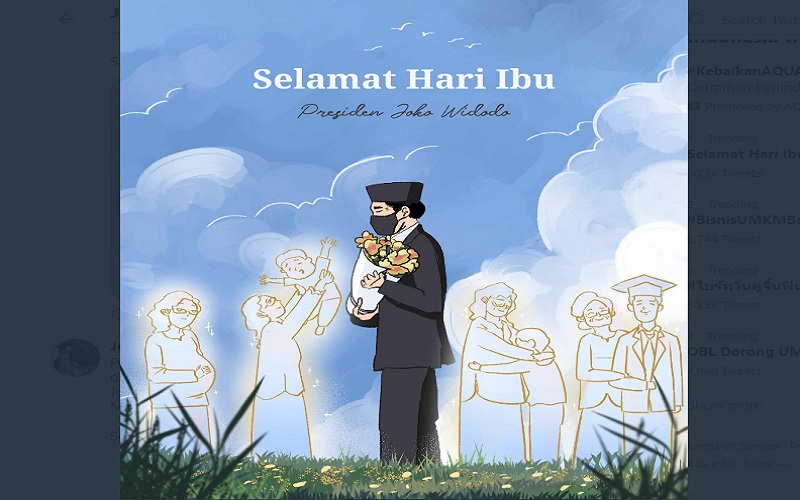 Presiden Jokowi mengunggah ilustrasi Selamat Hari Ibu di media sosial  -  Twitter: @jokowi