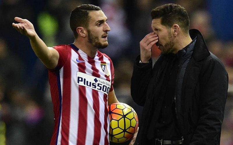 Pelatih Atletico Madrid Diego Simeone dan kapten tim Koke. - Bein Sports