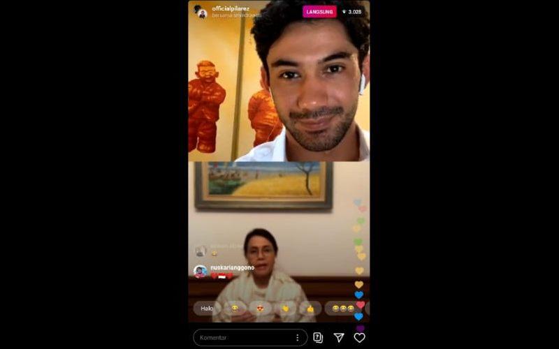 Menkeu Sri Mulyani dan Reza Rahadian melakukan diskusi melalui live Instagram. Tayangan ini ditonton hingga 3.300 pemilik akun. - tangkapan layar handphone