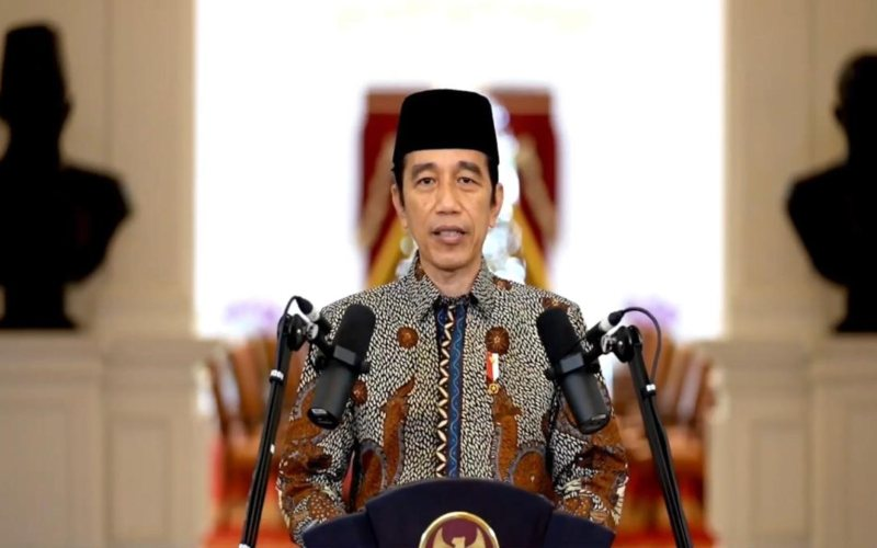 Presiden Joko Widodo menyampaikan pidato sambutan dalam resepsi milad ke/108 Muhammadiyah pada Rabu, 18 November 2020 / Youtube Muhammadiyah Channel