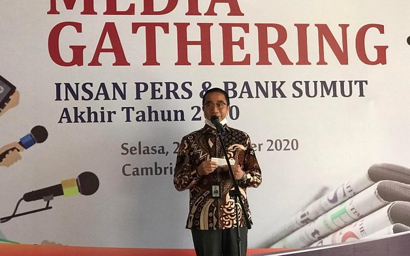 Direktur Operasional Bank Sumut Rahmat Fadillah Pohan dalam acara Media Gathering Bank Sumut di Hotel Cambridge Medan, Selasa (22/12/2020). - Bisnis/Cristine Evifania Manik