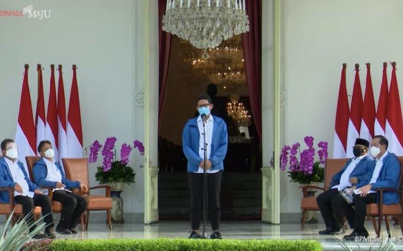 Sandiaga Salahuddin Uno, memberikan keterangan per usai diperkenalkan Presiden Joko Widodo sebagai Menteri Pariwisata dan Ekonomi Kreatif yang baru, di Istana Merdeka, Jakarta, Selasa (22/12/2020) - Youtube/Sekretariat Presiden