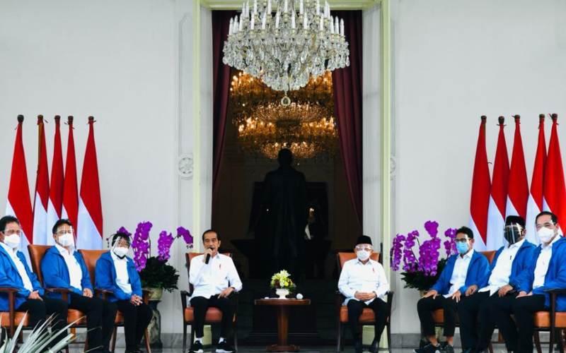 Presiden Joko Widodo mengumumkan reshuffle kabinet Indonesia Maju 2020.  -  Biro Kepresidenan RI