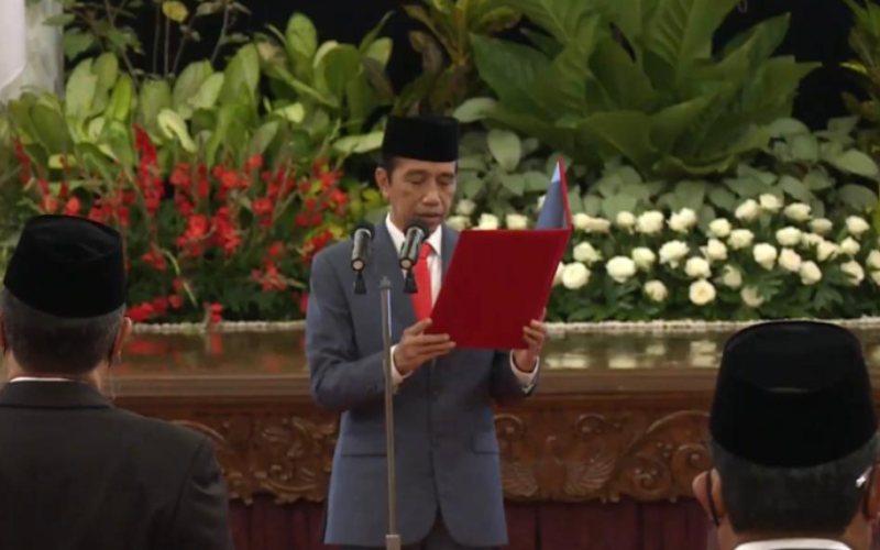 Presiden Joko Widodo melantik menteri baru Kabinet Indonesia Maju sisa jabatan periode 2019/2024 di Istana Negara, Rabu, 23 Desember 2020 / Youtube Setpres