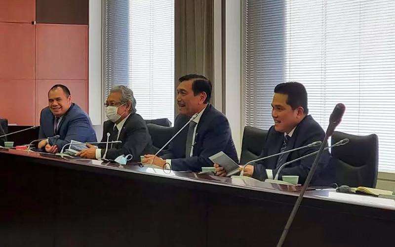 Sebelum ke UEA dan Arab Saudi, Menko Luhut dan Menteri BUMN Erick Thohir juga melakukan kunjungan kerja ke Tokyo, Jepang, untuk meminta dukungan bagi pembentukan SWF Indonesia.  - ANTAR