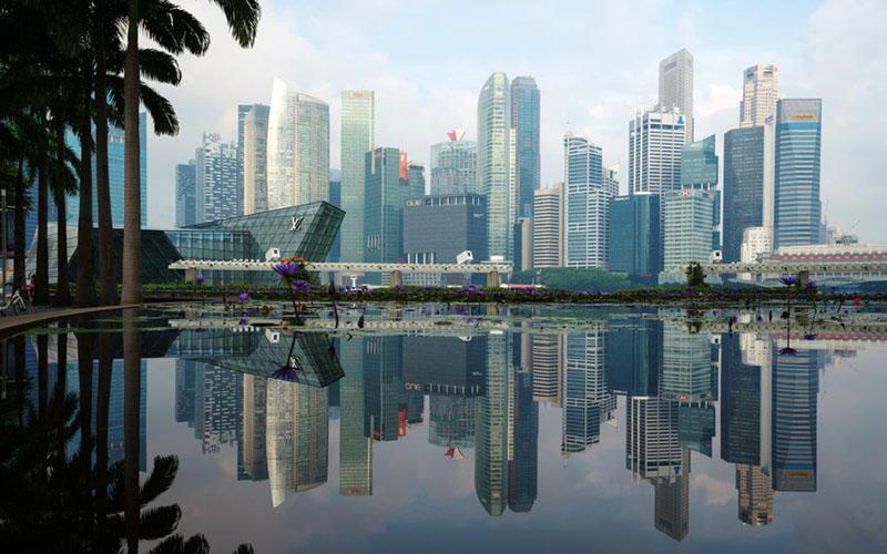 Properti komersial di kawasan pusat bisnis Singapura./Bloomberg - Nicky Loh