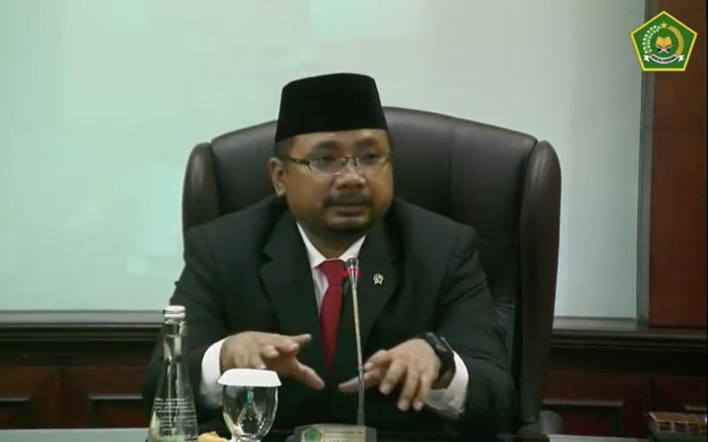Menteri Agama Yaqut Cholil Qoumas memberikan sambutan dalam seremoniserah terima jabatan dari Menteri Agama periode Oktober 2019-Desember 2020 Fachrul Razi, Rabu (23/12/2020) - Youtube/Kemenag RI