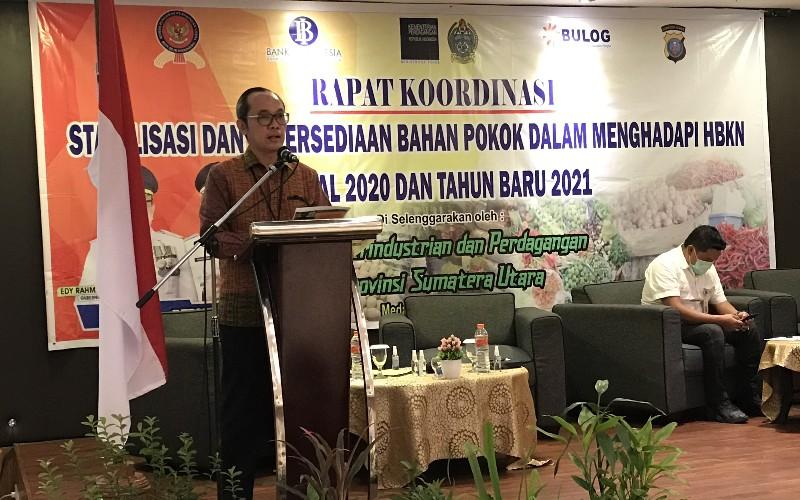 Deputi Kepala Perwakilan Bank Indonesia saat menyampaikan paparan materi di Hotel Le Polonia Medan, Rabu (23/12/2020). - Bisnis/Cristine Evifania Manik