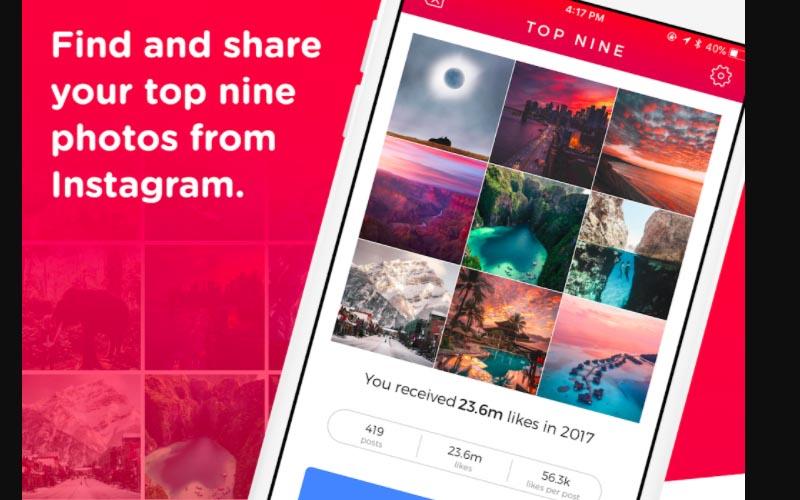 Ilustrasi Instagram Top 9.  - topnine.co