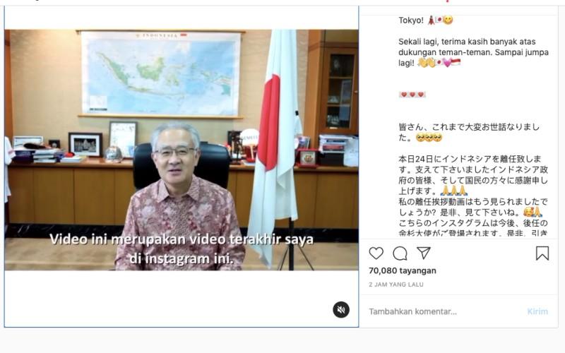 Video perpisahan Ishii Masafumi setelah mengakhiri masa jabatannya sebagaiDuta Besar (Dubes) Jepang untuk Indonesia - Instagram/@jpnambsindonesia.