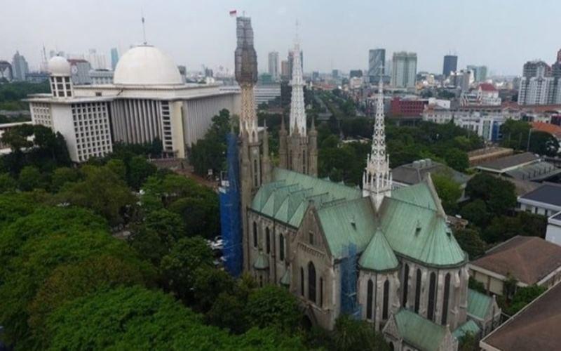 Masjid Istiqlal dan Gereja Katedral di Jakarta Pusat. - Istimewa