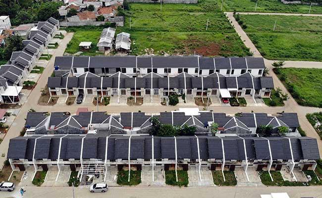Foto udara kawasan perumahan di Gunung Sindur, Bogor, Jawa Barat./Bisnis - Abdullah Azzam