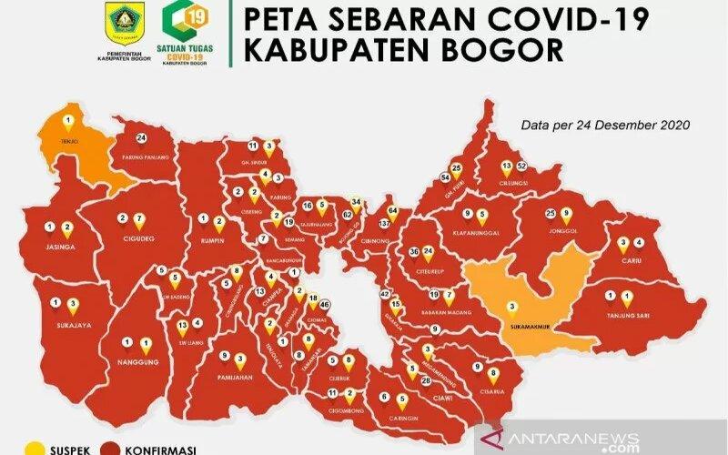 Peta penularan Covid-19 di Kabupaten Bogor, Jawa Barat, pada Kamis, 24 Desember 2020. - Antara/Pemkab Bogor