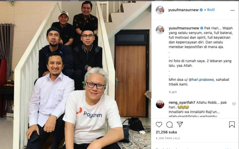 Hari Wibowo,CEOPaytrendan Treinet, (paling depan) dikabarkan meninggal dunia, Sabtu (26/12/2020). Kabar itu langsung disampaikan pendiri Paytren, Ustas Yusuf Mansur (kedua dari depan) - Instagram/@yusufmansurnew