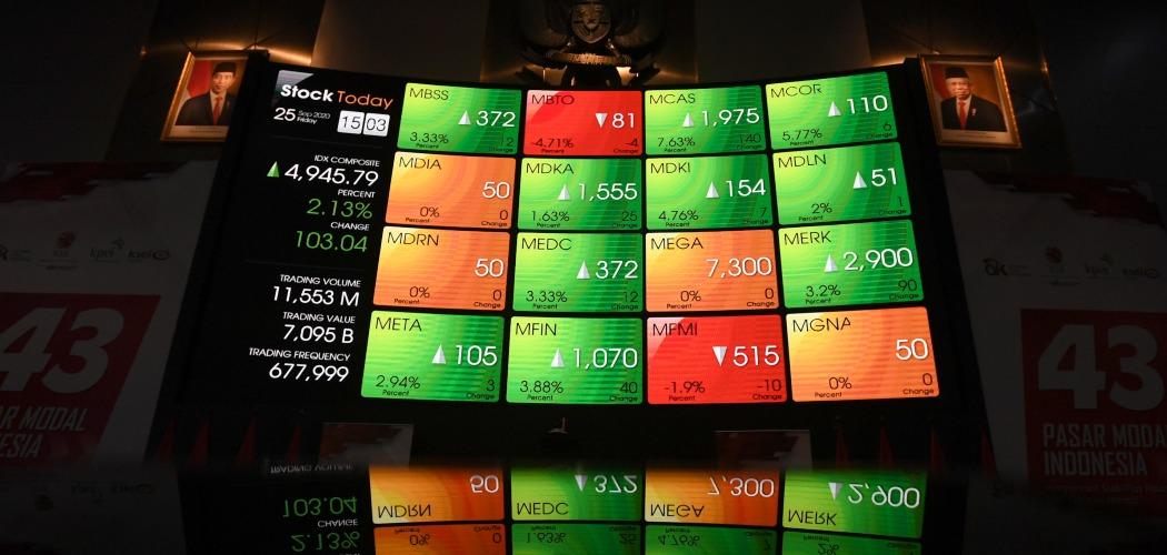 Refleksi layar pergerakan Indeks Harga Saham Gabungan (IHSG) di Bursa Efek Indonesia, Jakarta, Jumat (25/9/2020). IHSG kembali bangkit setelah empat hari berturut-turut berada di zona merah dengan ditutup menguat 103,03 poin atau 2,13 persen ke posisi 4.945,79. - ANTARA FOTO/Puspa Perwitasari