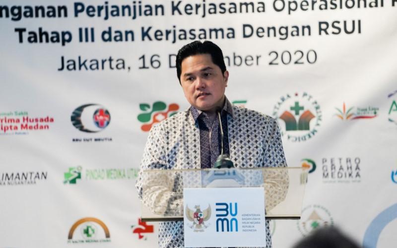 Menteri BUMN Erick Thohir saat memberikan sambutan dalam penandatanganan kerja sama operasional RS BUMN Tahap III Pertamedika IHC dan kerja sama dengan RSUI, Rabu (16/12/2020). - Istimewa