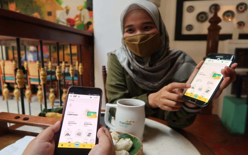 Fitur e-mas di Mandiri Syariah Mobile.  -  Istimewa