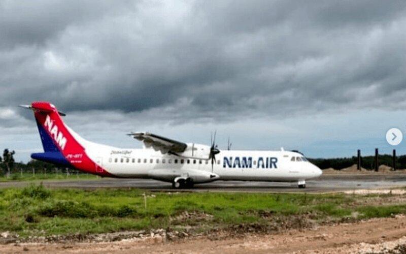Naim Air mendarat di Bandara Ngloram, Blora, Rabu (30/12/2020). - Instagram