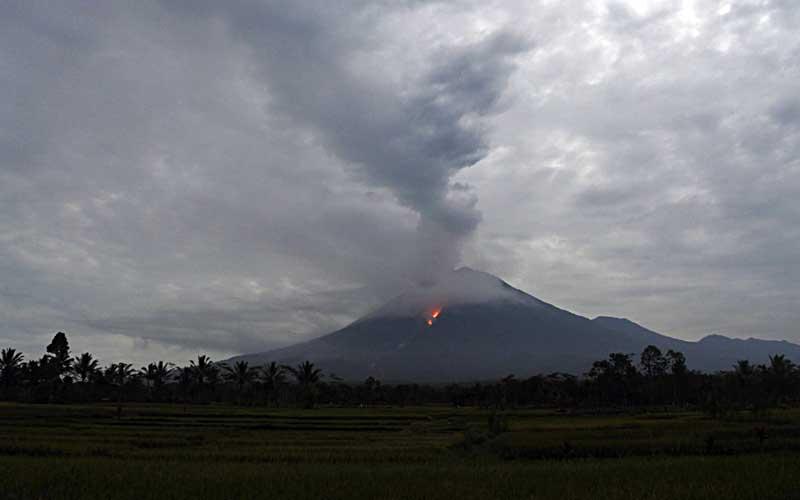 Guguran lava pijar terlihat dari Kecamatan Candipuro, Lumajang, Jawa Timur, Selasa (1/12/2020). Aktivitas Gunung Semeru mengalami peningkatan hingga meluncurkan lava pijar dari Kawah Jonggring Saloko selama lima hari terakhir. - Antara/Seno