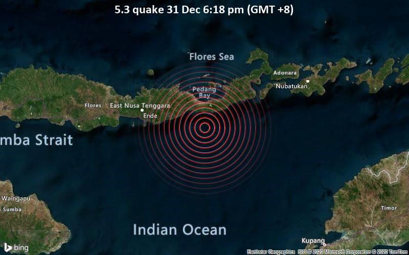 Pusat gempa bumi di dekat Maumere, NTT. - www.volcanodiscovery.com