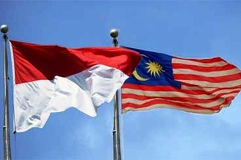 Bendera Indonesia dan Malaysia - Ilustrasi
