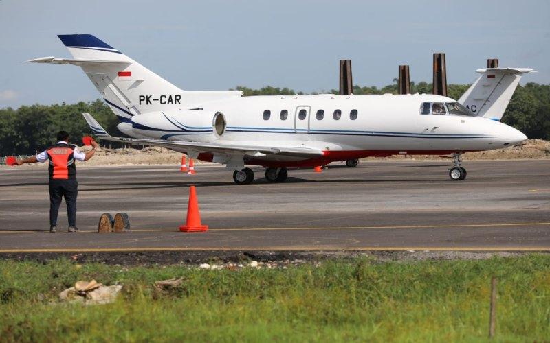 Pesawat Hawker 900 XP mendarat di Bandara Ngloram Blora, Sabtu (3/1/2020).  - Istimewa