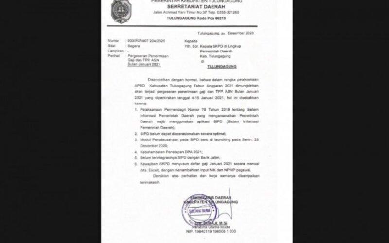 Pengumuman keterlambatan gaji ASN bulan Januari di lingkup Pemkab Tulungagung, Senin (4/1/2021). - Ist