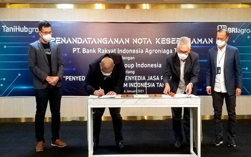 Penandantangan perjanjian kerja sama antara BRI Agro dan TaniHub, Rabu (6/1/2021).  -  Dok. BRI Agro