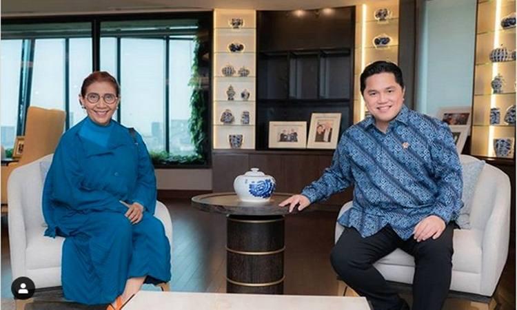 Susi Pudjiastuti bertemu Menteri BUMN Erick Thohir. - Instagram @erickthohir