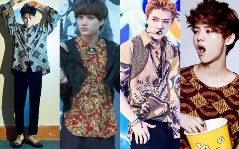 Para bintang K-Pop mengenakan baju batik. - Antara