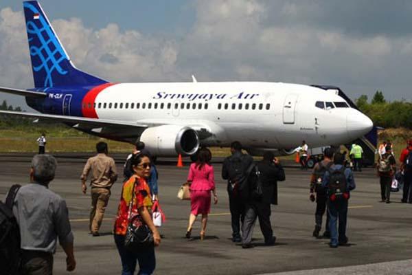 Pesawat Sriwijaya Air di Bandara Silangit di Tapanuli Utara, Sumatra Utara. - Bandara Silangit Antara/M. Iqbal