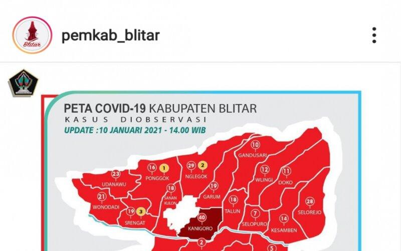 Peta sebaran COVID-19 di Kabupaten Blitar, Jawa Timur, per Minggu (10/1/2021). - Antara/Instagram