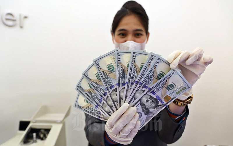 Karyawan menunjukan dolar AS di Jakarta, Rabu (25/11/2020). Bisnis - Eusebio Chrysnamurti