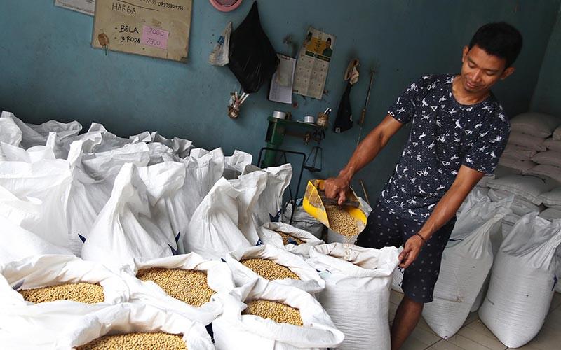 Pekerja menyortir kedelai yang baru tiba di gudang penyimpanan di Kawasan Kebayoran Lama, Jakarta, Rabu (19/2/2020). Bisnis - Eusebio Chrysnamurti