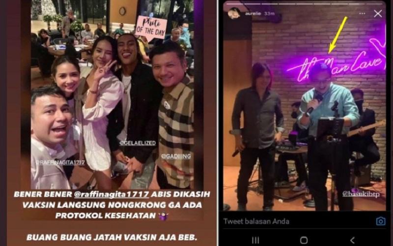 Artis Raffi Ahmad dan Komisaris BUMN Basuki Tjahaja Purnama alias Ahok diduga melanggar protokol kesehatan Covid-19  -  Sumber: Twitter